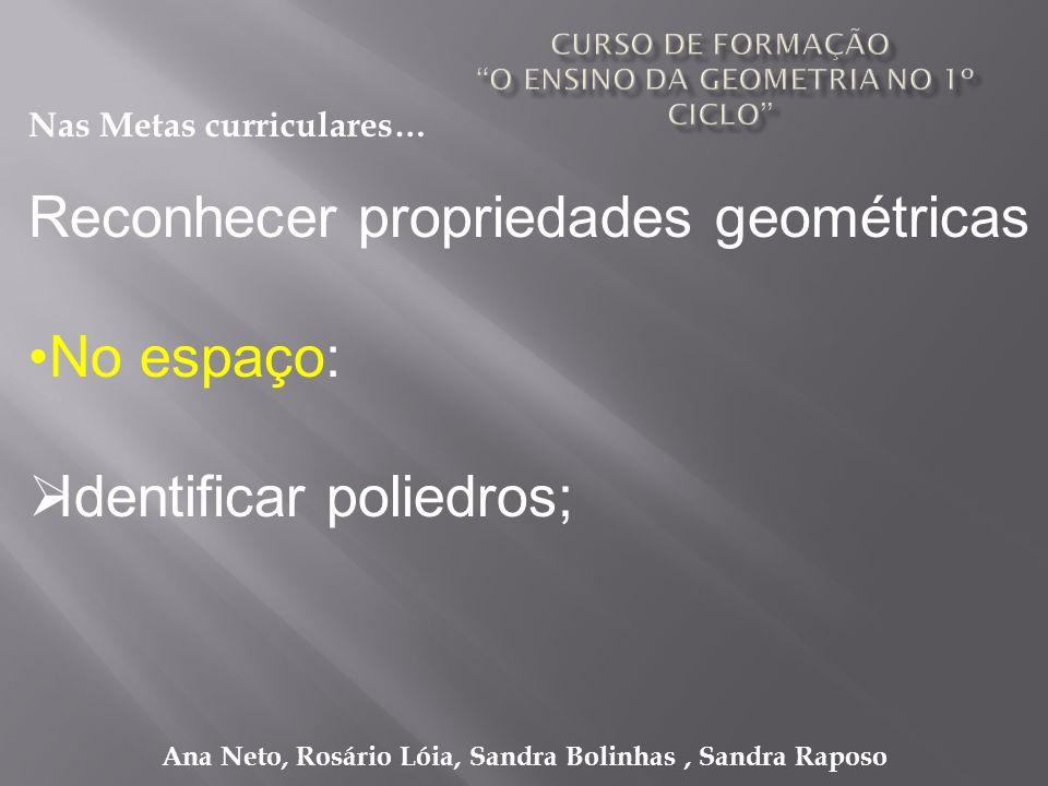Ana Neto, Rosário Lóia, Sandra Bolinhas, Sandra Raposo Reconhecer propriedades geométricas No espaço: Identificar poliedros; Nas Metas curriculares…