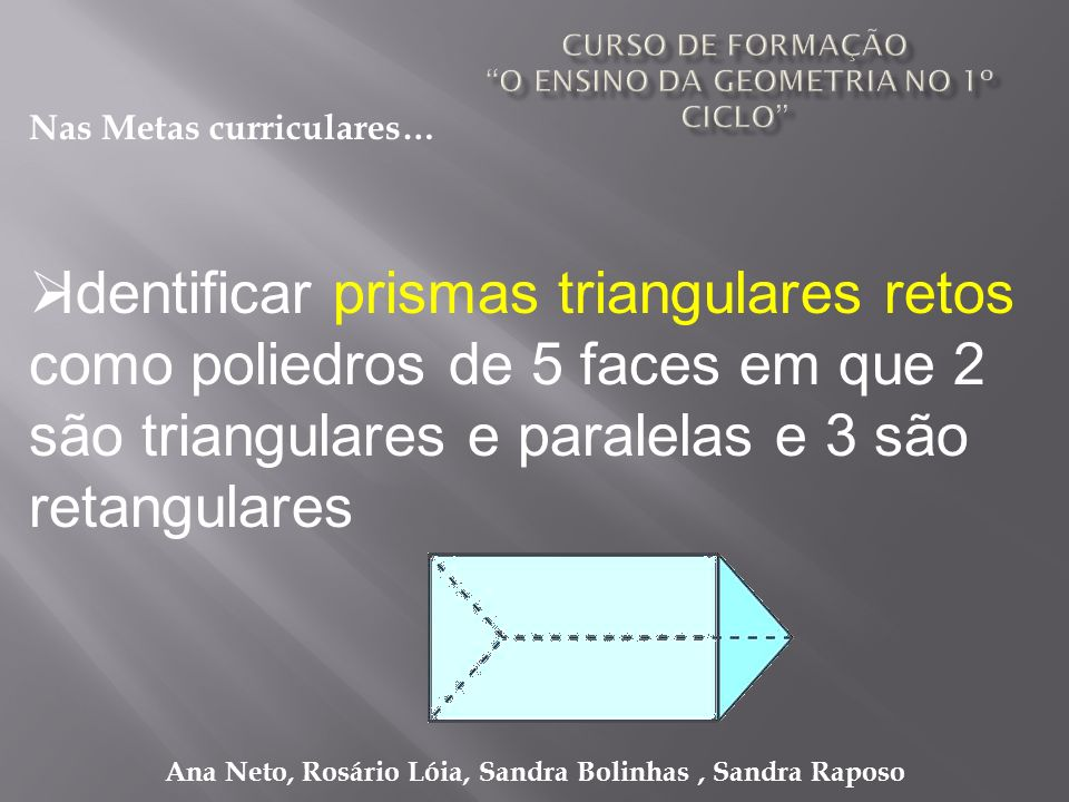 Ana Neto, Rosário Lóia, Sandra Bolinhas, Sandra Raposo Identificar prismas triangulares retos como poliedros de 5 faces em que 2 são triangulares e pa