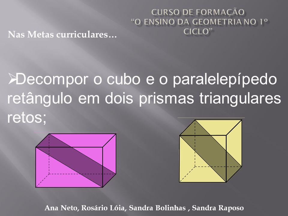 Ana Neto, Rosário Lóia, Sandra Bolinhas, Sandra Raposo Decompor o cubo e o paralelepípedo retângulo em dois prismas triangulares retos; Nas Metas curr