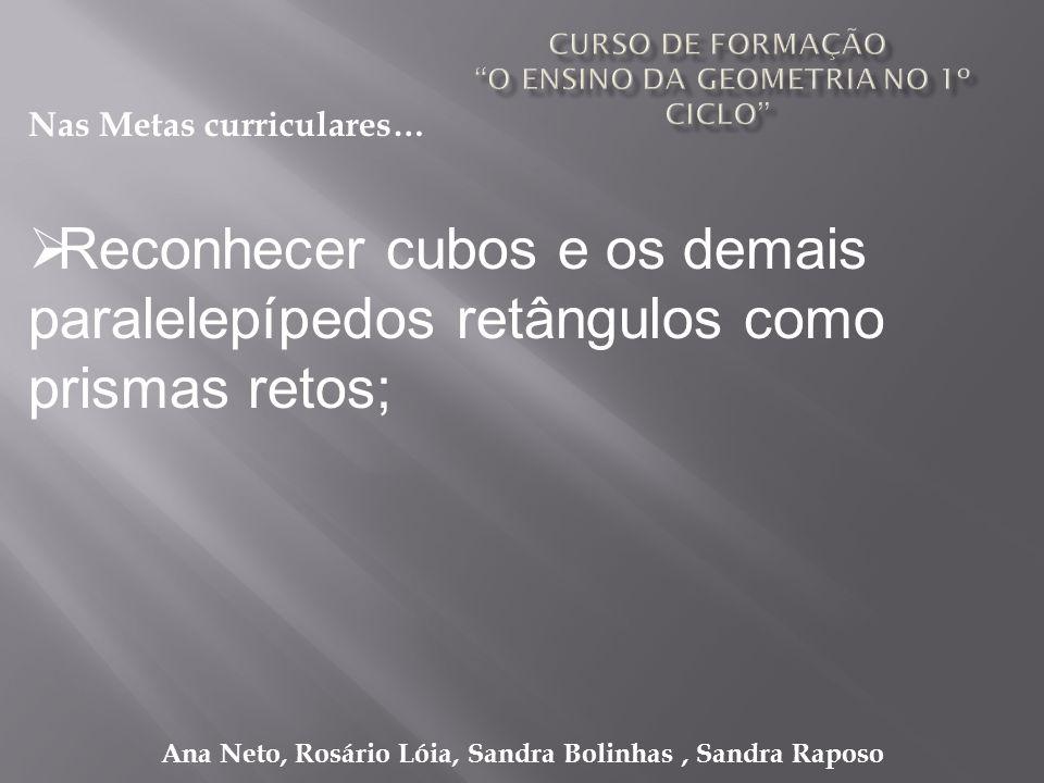 Ana Neto, Rosário Lóia, Sandra Bolinhas, Sandra Raposo Reconhecer cubos e os demais paralelepípedos retângulos como prismas retos; Nas Metas curricula