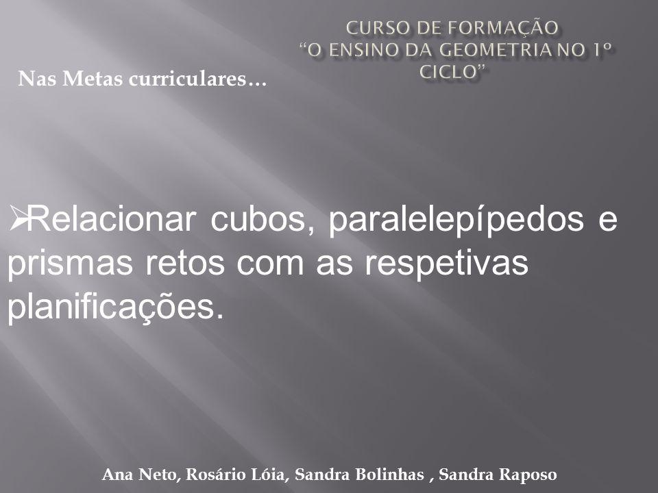 Ana Neto, Rosário Lóia, Sandra Bolinhas, Sandra Raposo Relacionar cubos, paralelepípedos e prismas retos com as respetivas planificações. Nas Metas cu