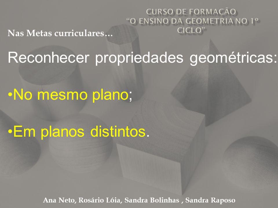 Ana Neto, Rosário Lóia, Sandra Bolinhas, Sandra Raposo Reconhecer propriedades geométricas: No mesmo plano; Em planos distintos. Nas Metas curriculare