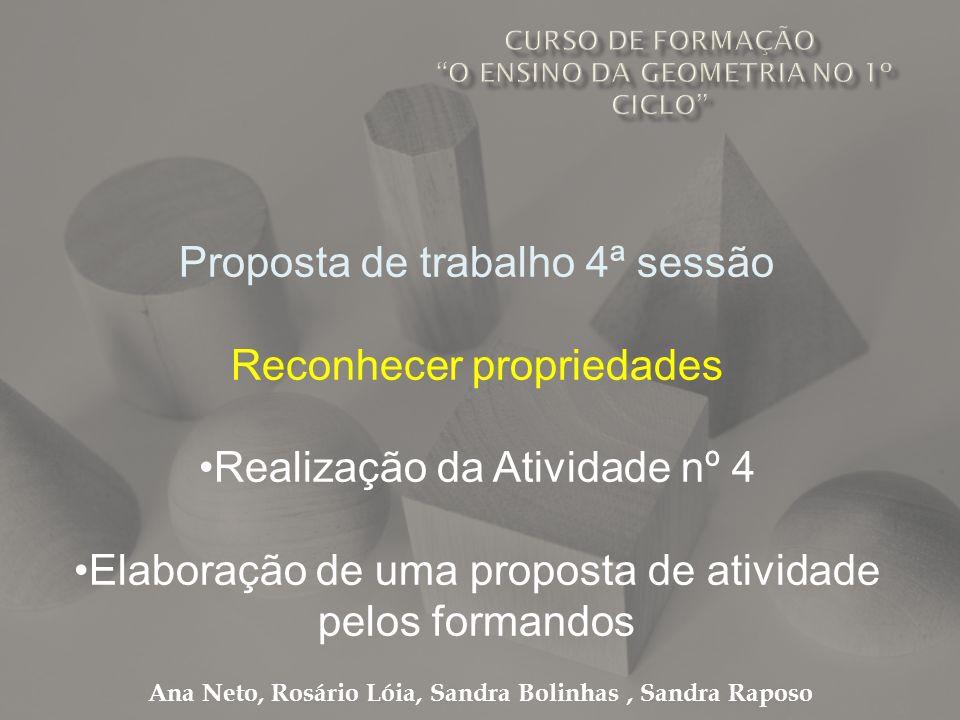 Ana Neto, Rosário Lóia, Sandra Bolinhas, Sandra Raposo Proposta de trabalho 4ª sessão Reconhecer propriedades Realização da Atividade nº 4 Elaboração