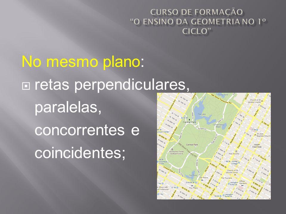No mesmo plano: retas perpendiculares, paralelas, concorrentes e coincidentes;