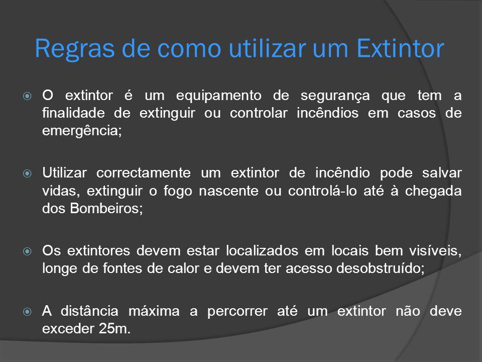 O extintor é um equipamento de segurança que tem a finalidade de extinguir ou controlar incêndios em casos de emergência; Utilizar correctamente um ex
