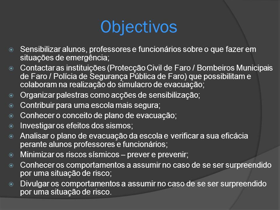 Sensibilizar alunos, professores e funcionários sobre o que fazer em situações de emergência; Contactar as instituições (Protecção Civil de Faro / Bom