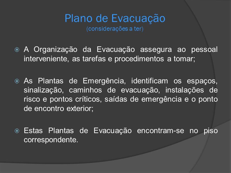A Organização da Evacuação assegura ao pessoal interveniente, as tarefas e procedimentos a tomar; As Plantas de Emergência, identificam os espaços, si