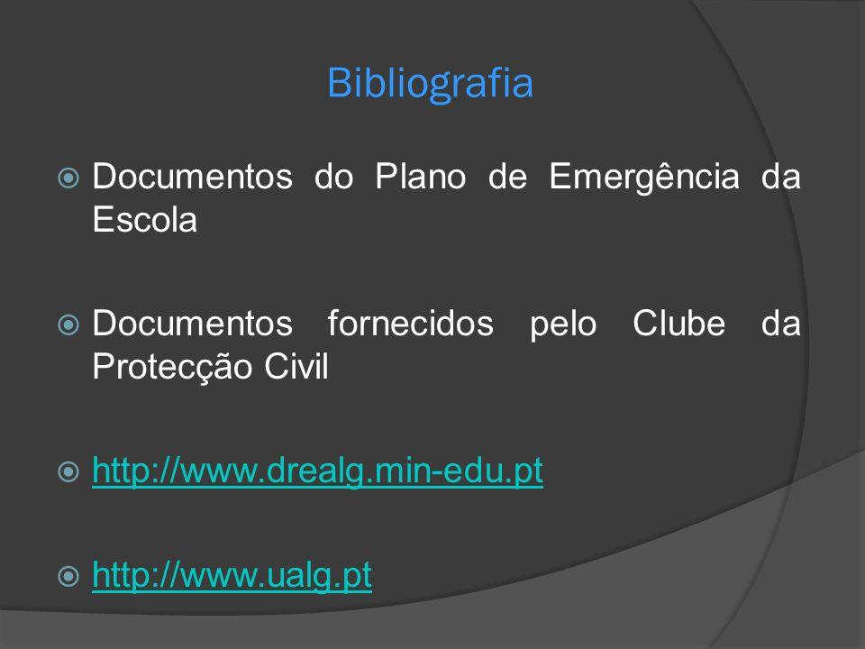 Bibliografia Documentos do Plano de Emergência da Escola Documentos fornecidos pelo Clube da Protecção Civil http://www.drealg.min-edu.pt http://www.u