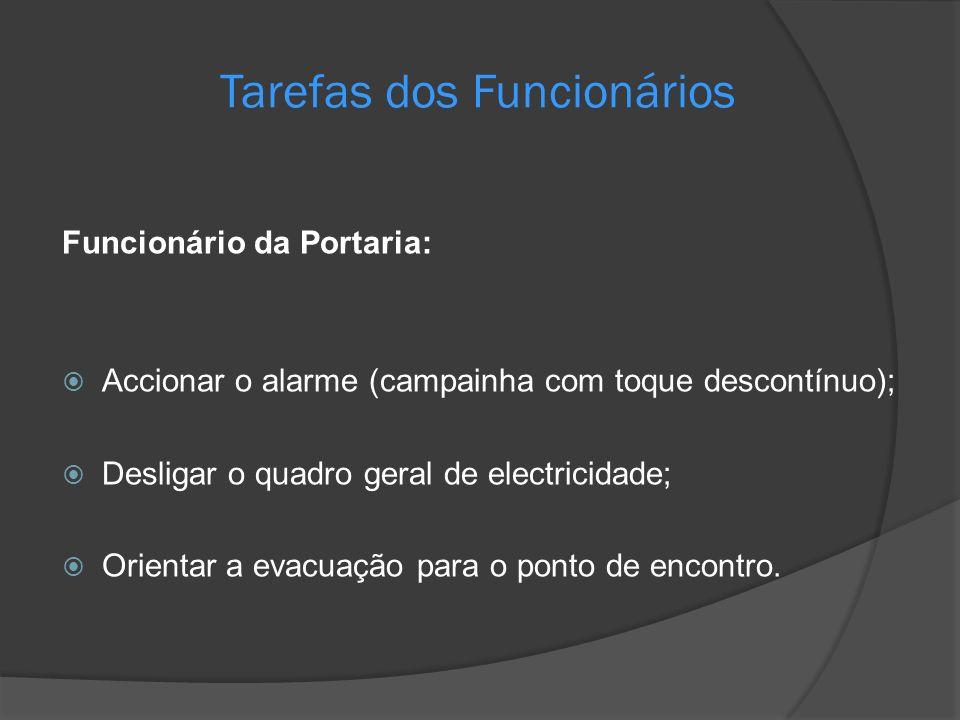 Tarefas dos Funcionários Funcionário da Portaria: Accionar o alarme (campainha com toque descontínuo); Desligar o quadro geral de electricidade; Orien