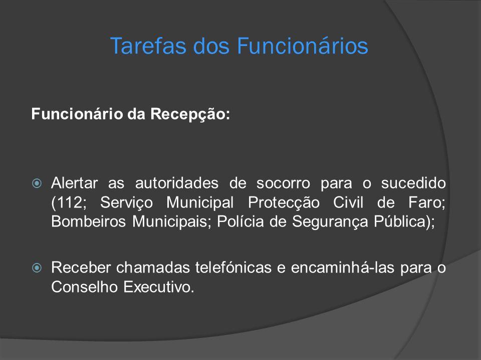 Tarefas dos Funcionários Funcionário da Recepção: Alertar as autoridades de socorro para o sucedido (112; Serviço Municipal Protecção Civil de Faro; B