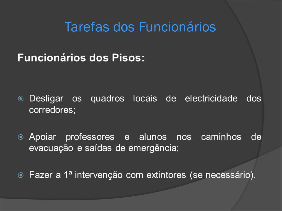 Tarefas dos Funcionários Funcionários dos Pisos: Desligar os quadros locais de electricidade dos corredores; Apoiar professores e alunos nos caminhos