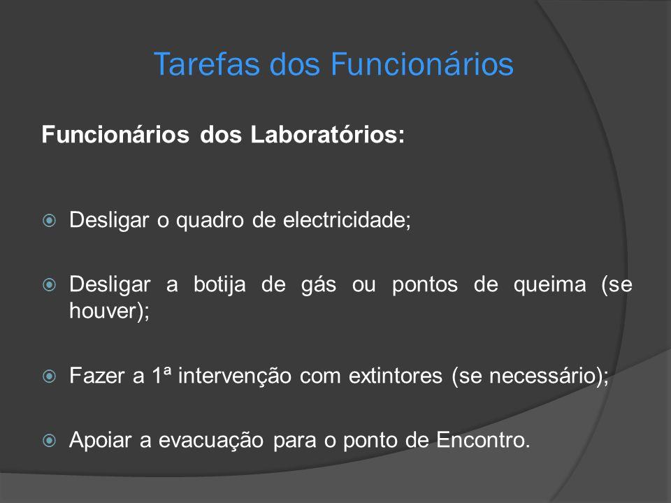 Tarefas dos Funcionários Funcionários dos Laboratórios: Desligar o quadro de electricidade; Desligar a botija de gás ou pontos de queima (se houver);