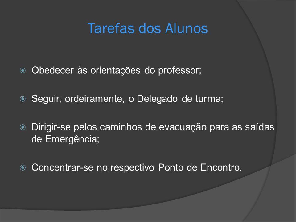 Tarefas dos Alunos Obedecer às orientações do professor; Seguir, ordeiramente, o Delegado de turma; Dirigir-se pelos caminhos de evacuação para as saí