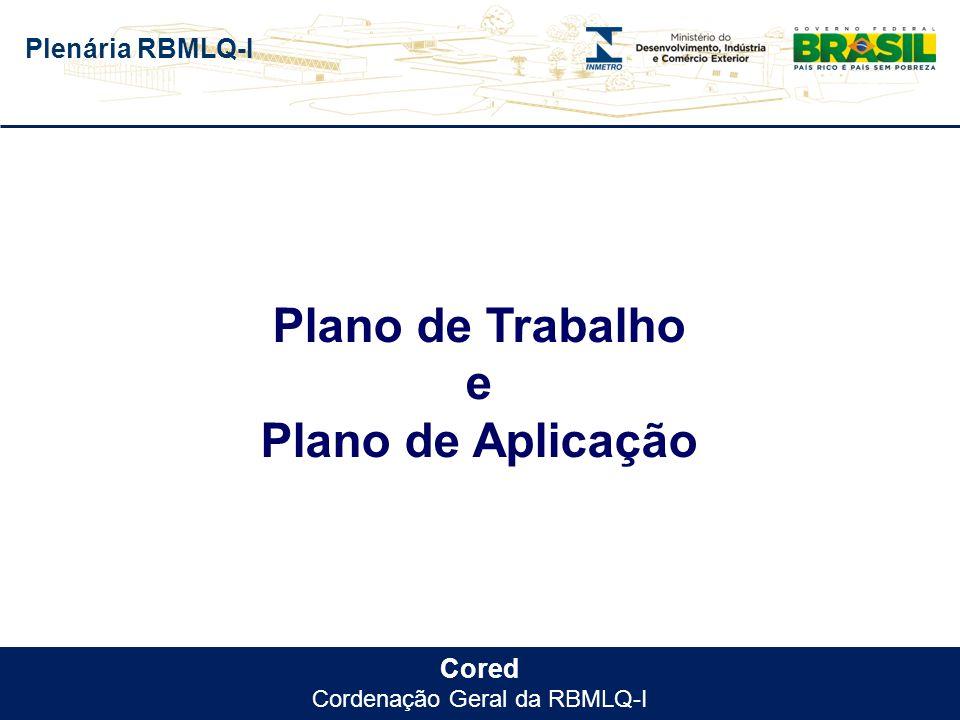 Plenária RBMLQ-I Cored Cordenação Geral da RBMLQ-I Plano de Trabalho e Plano de Aplicação