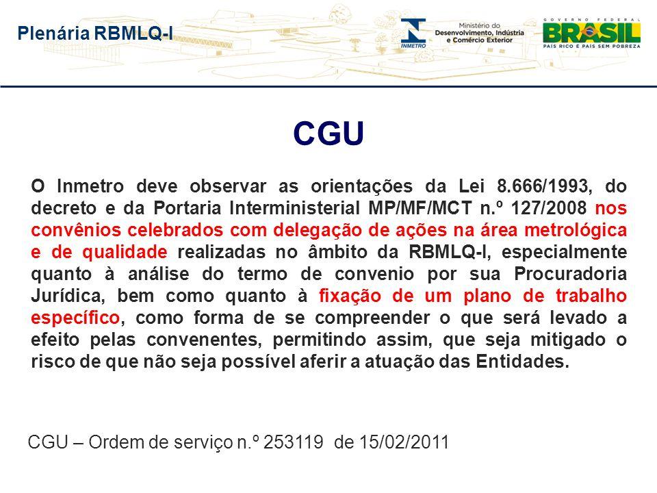 Plenária RBMLQ-I CGU O Inmetro deve observar as orientações da Lei 8.666/1993, do decreto e da Portaria Interministerial MP/MF/MCT n.º 127/2008 nos co