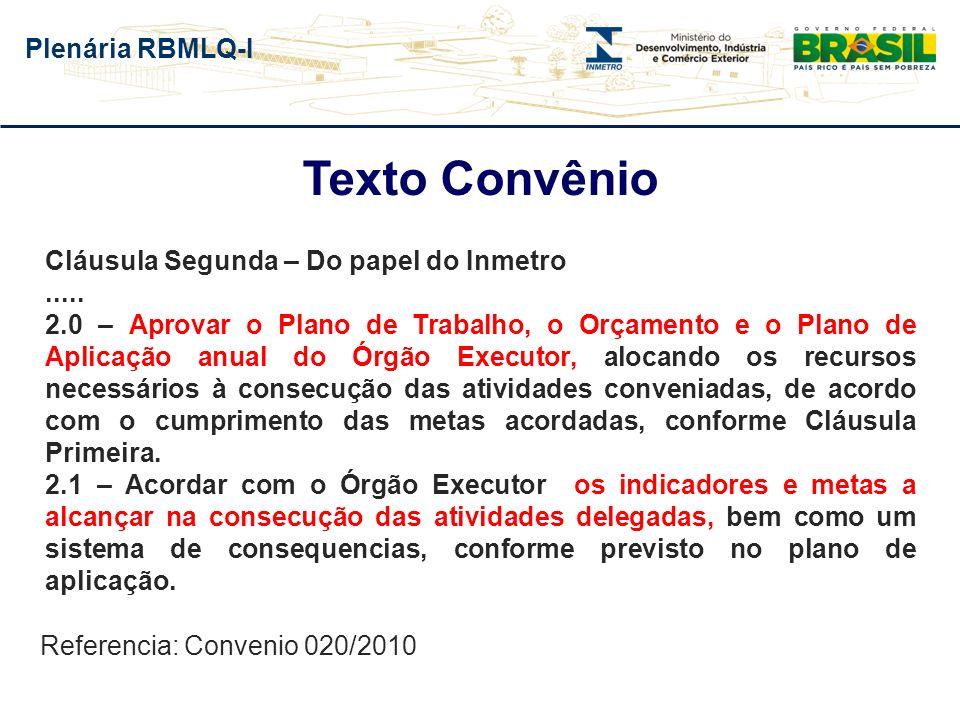 Plenária RBMLQ-I Texto Convênio Cláusula Segunda – Do papel do Inmetro..... 2.0 – Aprovar o Plano de Trabalho, o Orçamento e o Plano de Aplicação anua