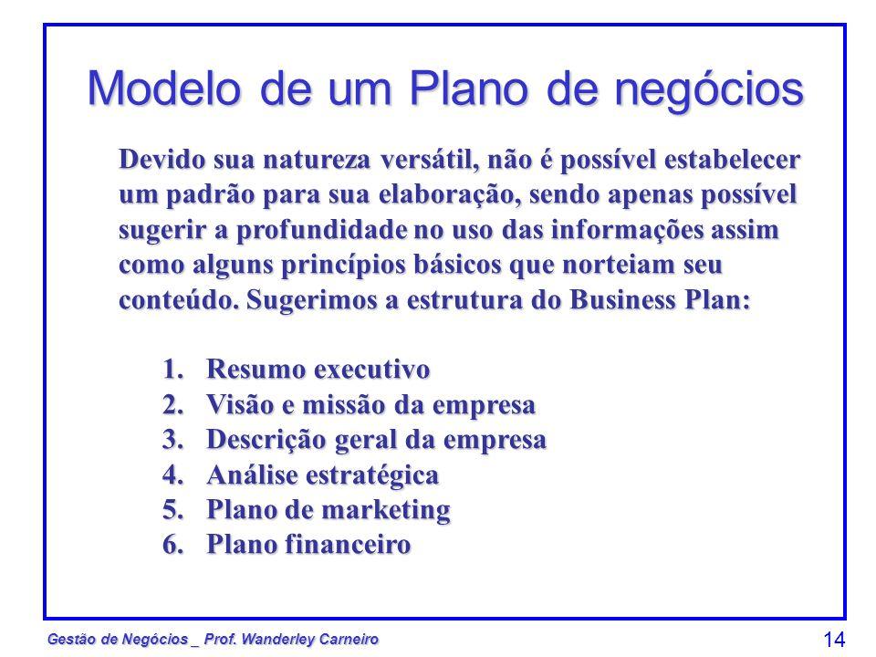 Gestão de Negócios _ Prof. Wanderley Carneiro 14 Modelo de um Plano de negócios Devido sua natureza versátil, não é possível estabelecer um padrão par