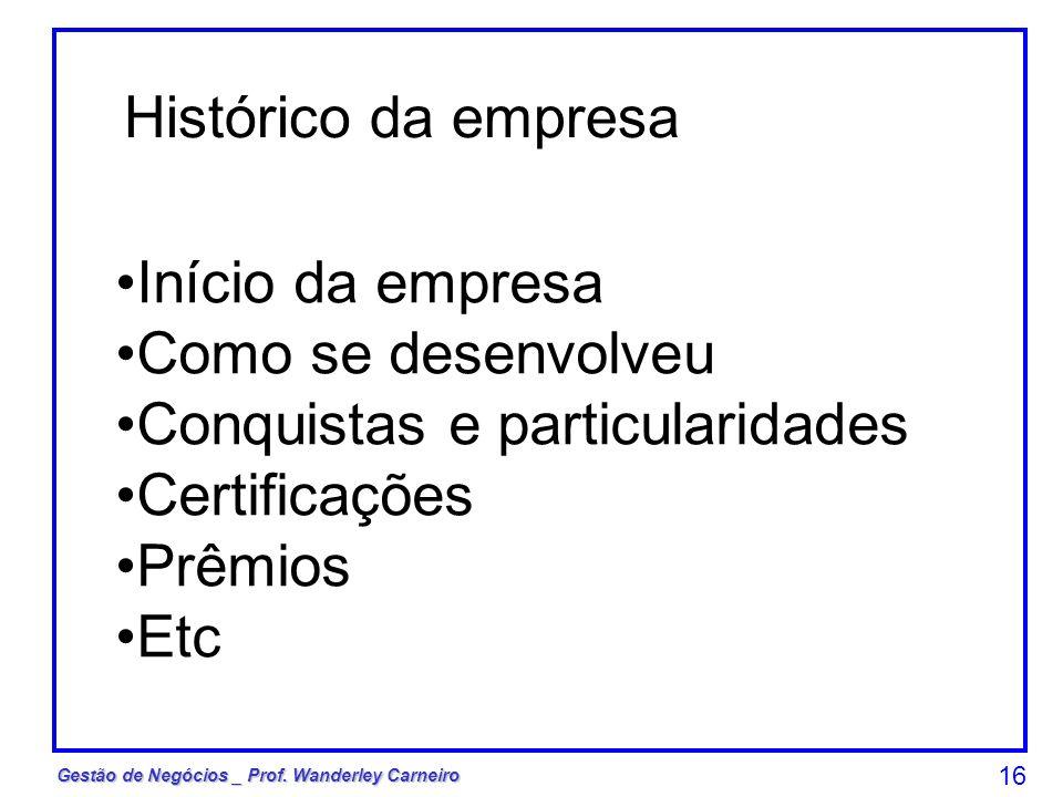Gestão de Negócios _ Prof. Wanderley Carneiro 16 Histórico da empresa Início da empresa Como se desenvolveu Conquistas e particularidades Certificaçõe
