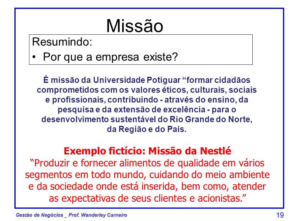 Gestão de Negócios _ Prof. Wanderley Carneiro 19 Resumindo: Por que a empresa existe? Exemplo fictício: Missão da Nestlé Produzir e fornecer alimentos