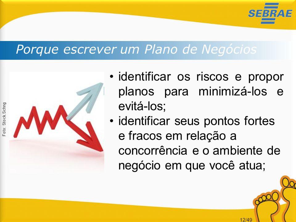 12/49 Porque escrever um Plano de Negócios Foto: Stock.Schng identificar os riscos e propor planos para minimizá-los e evitá-los; identificar seus pon