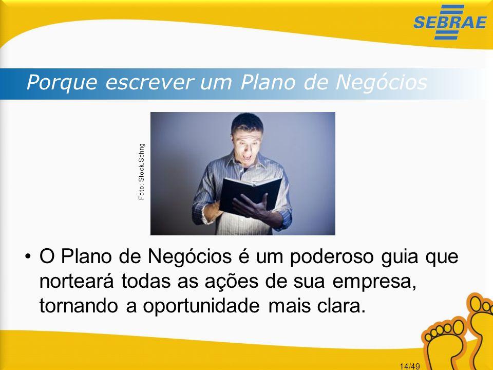 14/49 Porque escrever um Plano de Negócios Foto: Stock.Schng O Plano de Negócios é um poderoso guia que norteará todas as ações de sua empresa, tornan
