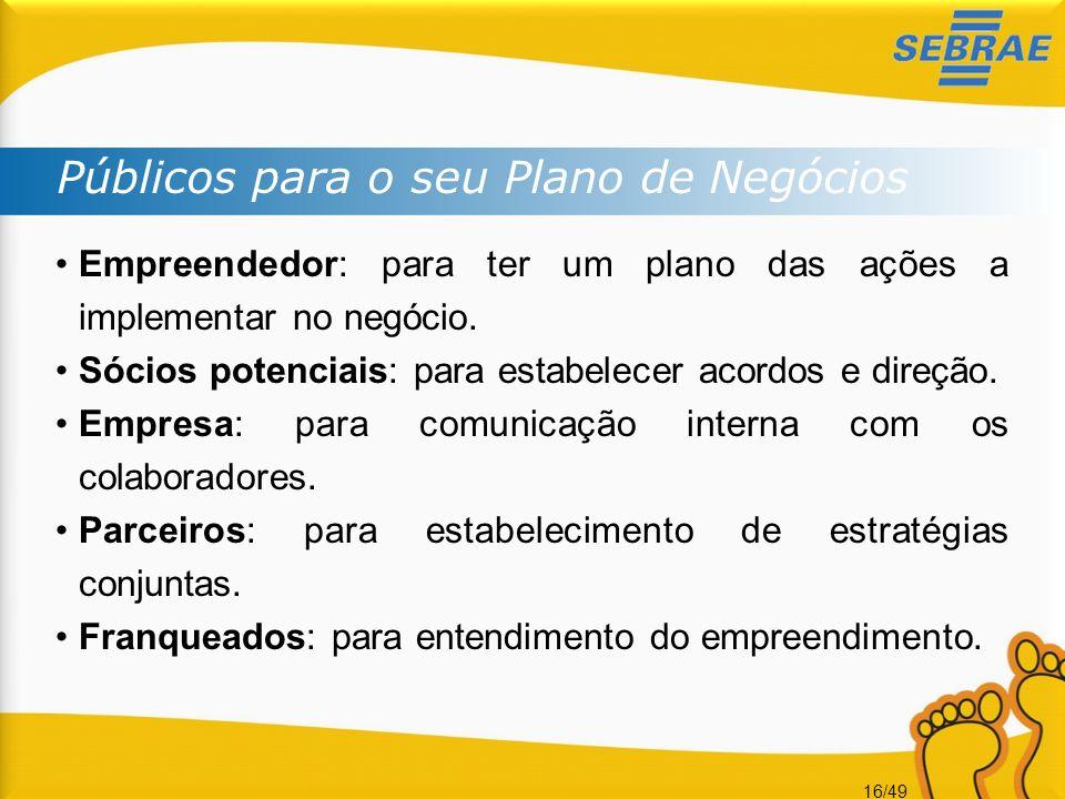 16/49 Empreendedor: para ter um plano das ações a implementar no negócio. Sócios potenciais: para estabelecer acordos e direção. Empresa: para comunic