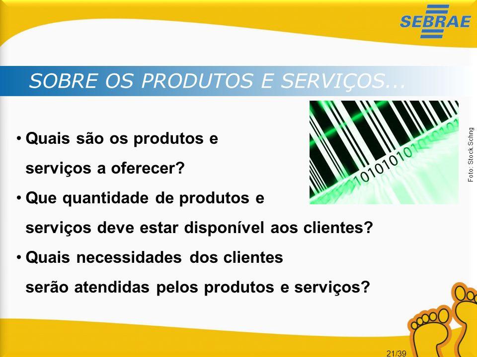 21/39 SOBRE OS PRODUTOS E SERVIÇOS... Quais são os produtos e serviços a oferecer? Que quantidade de produtos e serviços deve estar disponível aos cli