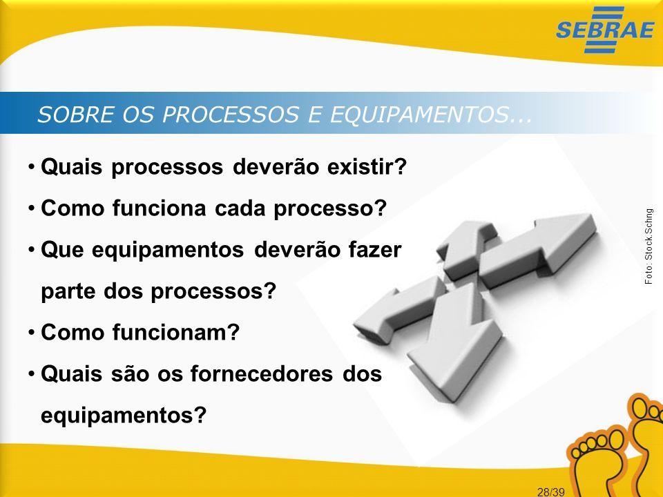 28/39 SOBRE OS PROCESSOS E EQUIPAMENTOS... Quais processos deverão existir? Como funciona cada processo? Que equipamentos deverão fazer parte dos proc