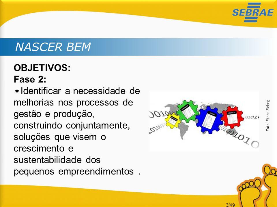 3/49 NASCER BEM OBJETIVOS: Fase 2: Identificar a necessidade de melhorias nos processos de gestão e produção, construindo conjuntamente, soluções que