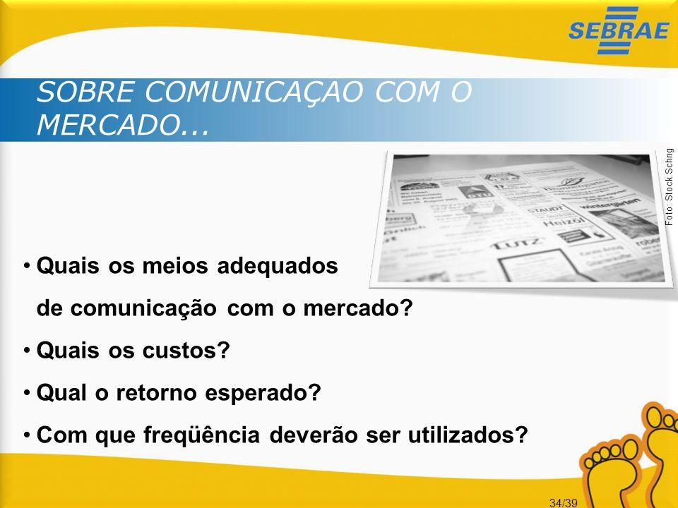 34/39 SOBRE COMUNICAÇÃO COM O MERCADO... Quais os meios adequados de comunicação com o mercado? Quais os custos? Qual o retorno esperado? Com que freq