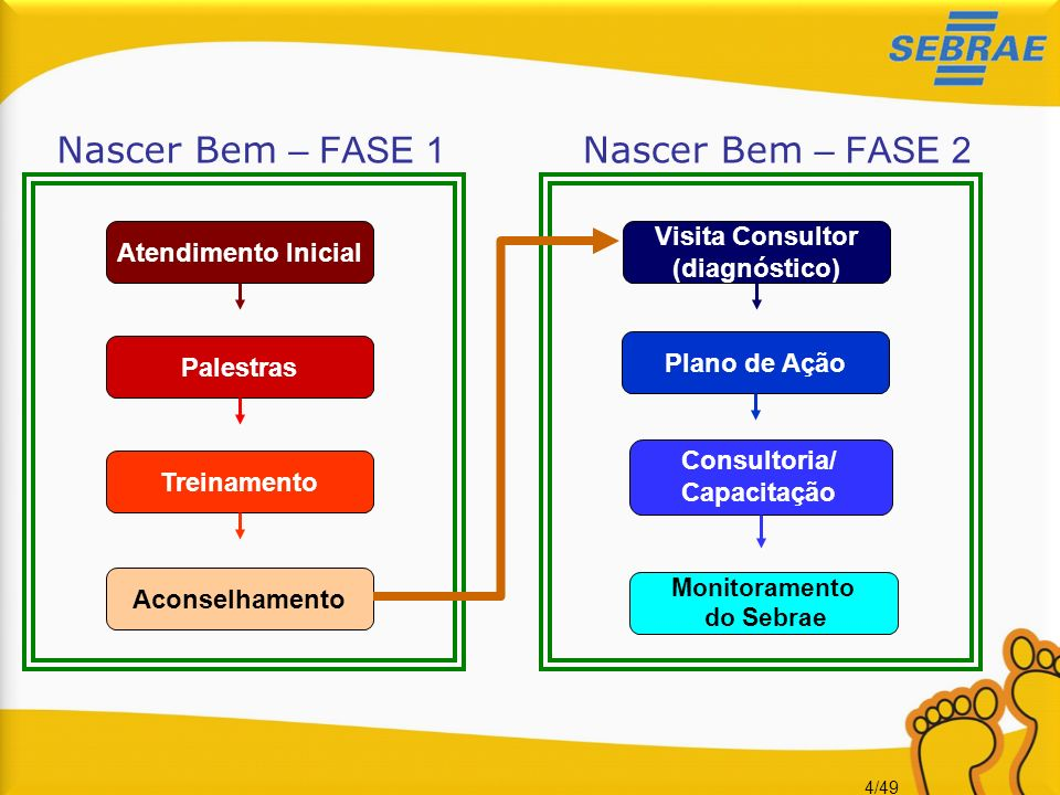 4/49 Aconselhamento Atendimento InicialPalestrasTreinamento Monitoramento do Sebrae Visita Consultor (diagnóstico) Plano de Ação Nascer Bem – FASE 1 N