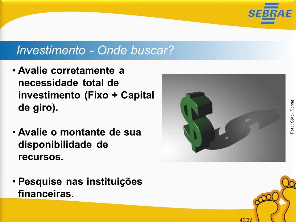 40/39 Investimento - Onde buscar? Avalie corretamente a necessidade total de investimento (Fixo + Capital de giro). Avalie o montante de sua disponibi