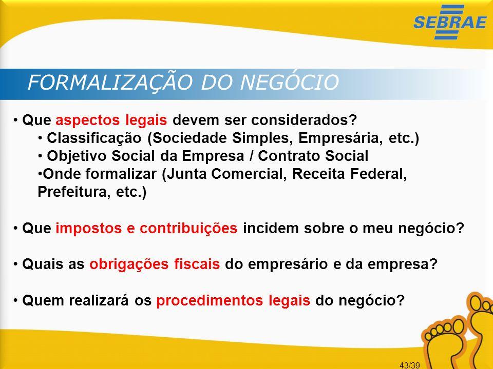 43/39 FORMALIZAÇÃO DO NEGÓCIO Que aspectos legais devem ser considerados? Classificação (Sociedade Simples, Empresária, etc.) Objetivo Social da Empre