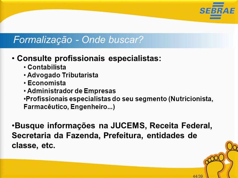 44/39 Formalização - Onde buscar? Consulte profissionais especialistas: Contabilista Advogado Tributarista Economista Administrador de Empresas Profis