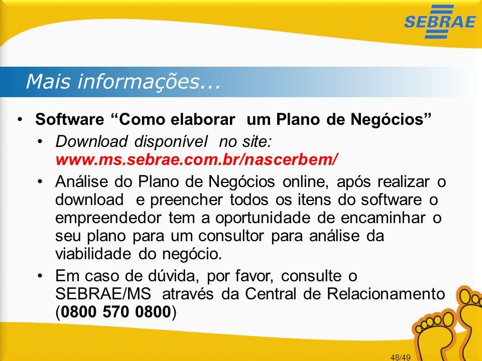 48/49 Mais informações... Software Como elaborar um Plano de Negócios Download disponível no site: www.ms.sebrae.com.br/nascerbem/ Análise do Plano de