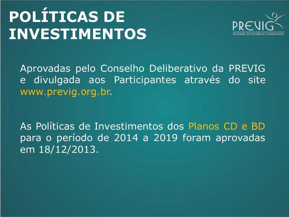 POLÍTICAS DE INVESTIMENTOS Aprovadas pelo Conselho Deliberativo da PREVIG e divulgada aos Participantes através do site www.previg.org.br. As Política