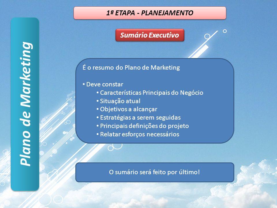 Plano de Marketing Sumário Executivo 1ª ETAPA - PLANEJAMENTO É o resumo do Plano de Marketing Deve constar Características Principais do Negócio Situa