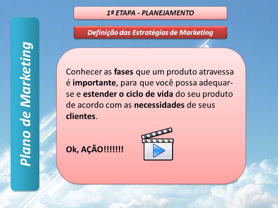Plano de Marketing 1ª ETAPA - PLANEJAMENTO Definição das Estratégias de Marketing Conhecer as fases que um produto atravessa é importante, para que você possa adequar- se e estender o ciclo de vida do seu produto de acordo com as necessidades de seus clientes.