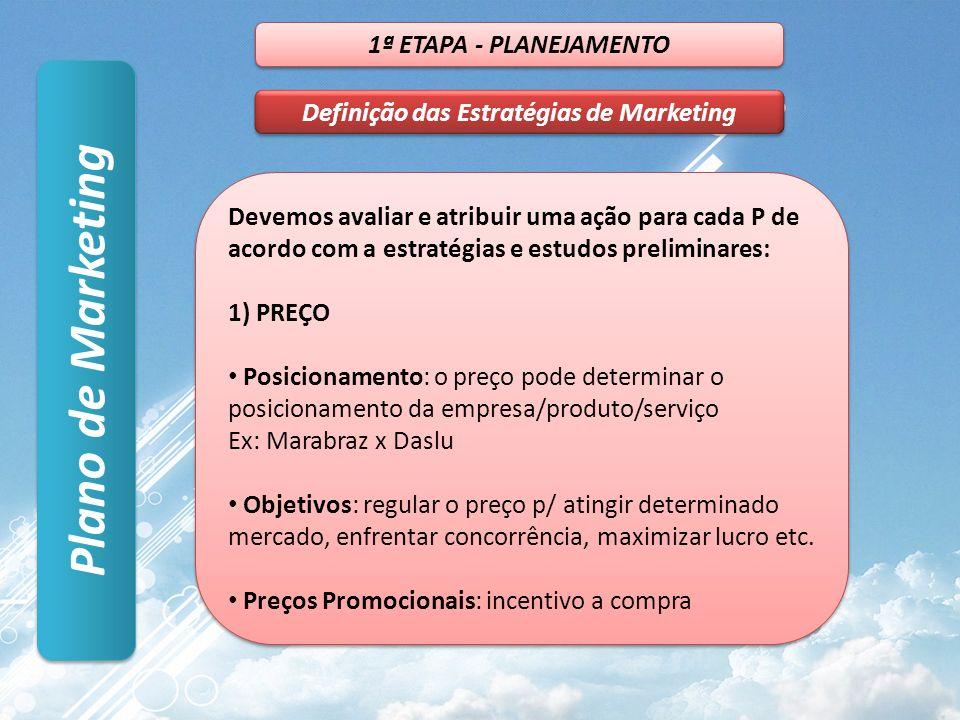 Plano de Marketing 1ª ETAPA - PLANEJAMENTO Definição das Estratégias de Marketing Devemos avaliar e atribuir uma ação para cada P de acordo com a estratégias e estudos preliminares: 1) PREÇO Posicionamento: o preço pode determinar o posicionamento da empresa/produto/serviço Ex: Marabraz x Daslu Objetivos: regular o preço p/ atingir determinado mercado, enfrentar concorrência, maximizar lucro etc.