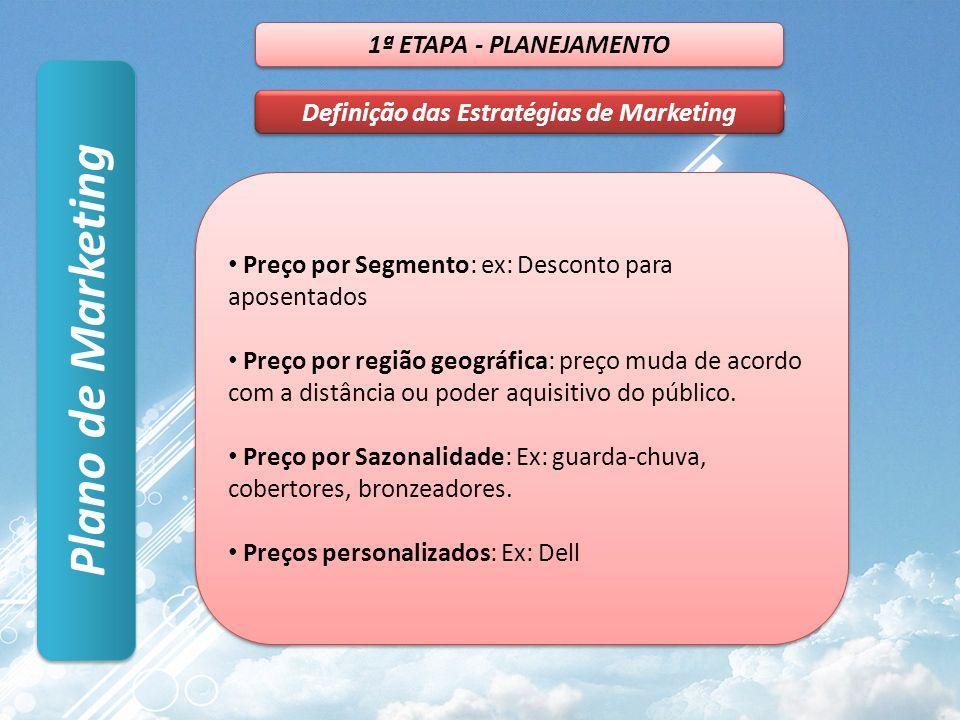 Plano de Marketing 1ª ETAPA - PLANEJAMENTO Definição das Estratégias de Marketing Preço por Segmento: ex: Desconto para aposentados Preço por região geográfica: preço muda de acordo com a distância ou poder aquisitivo do público.
