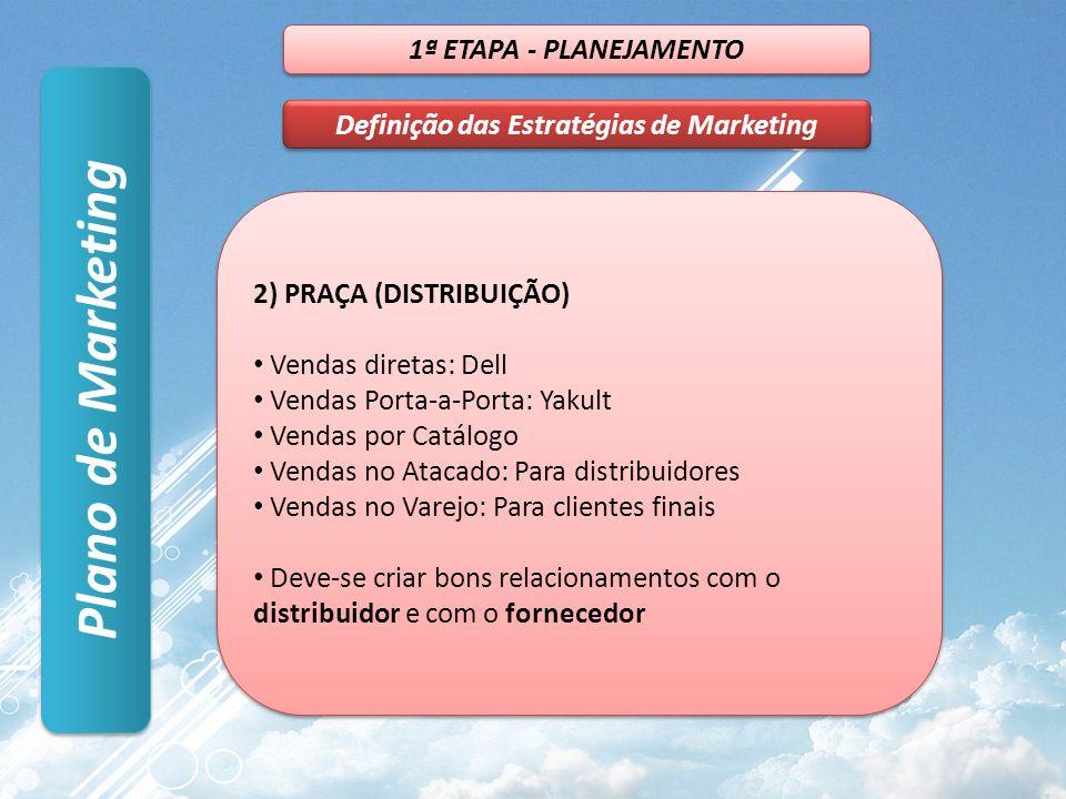 Plano de Marketing 1ª ETAPA - PLANEJAMENTO Definição das Estratégias de Marketing 2) PRAÇA (DISTRIBUIÇÃO) Vendas diretas: Dell Vendas Porta-a-Porta: Y