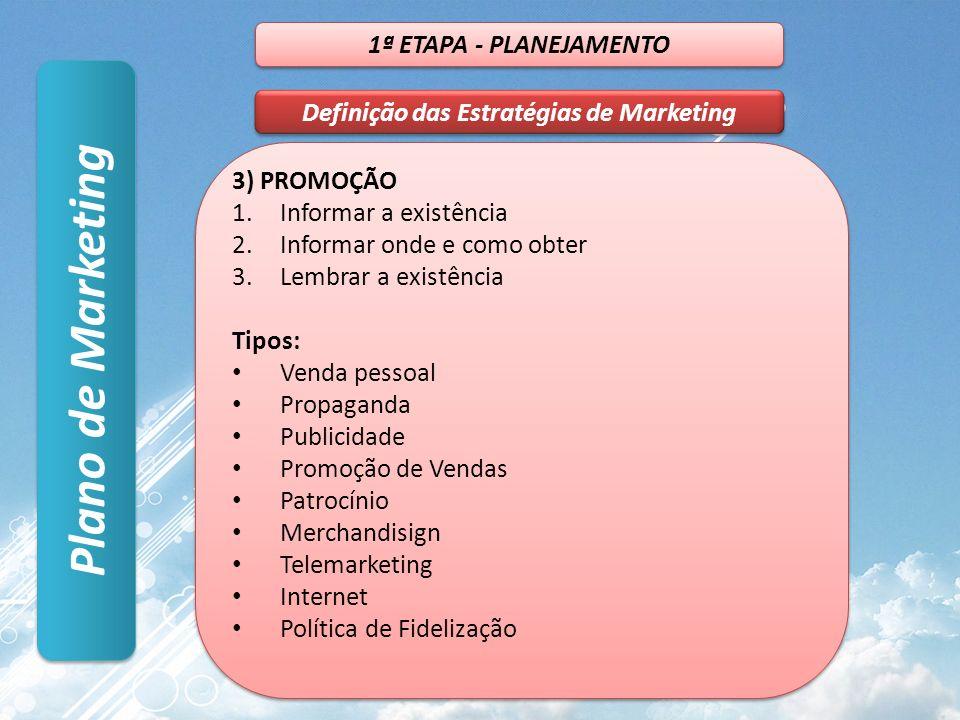 Plano de Marketing 1ª ETAPA - PLANEJAMENTO Definição das Estratégias de Marketing 3) PROMOÇÃO 1.Informar a existência 2.Informar onde e como obter 3.L