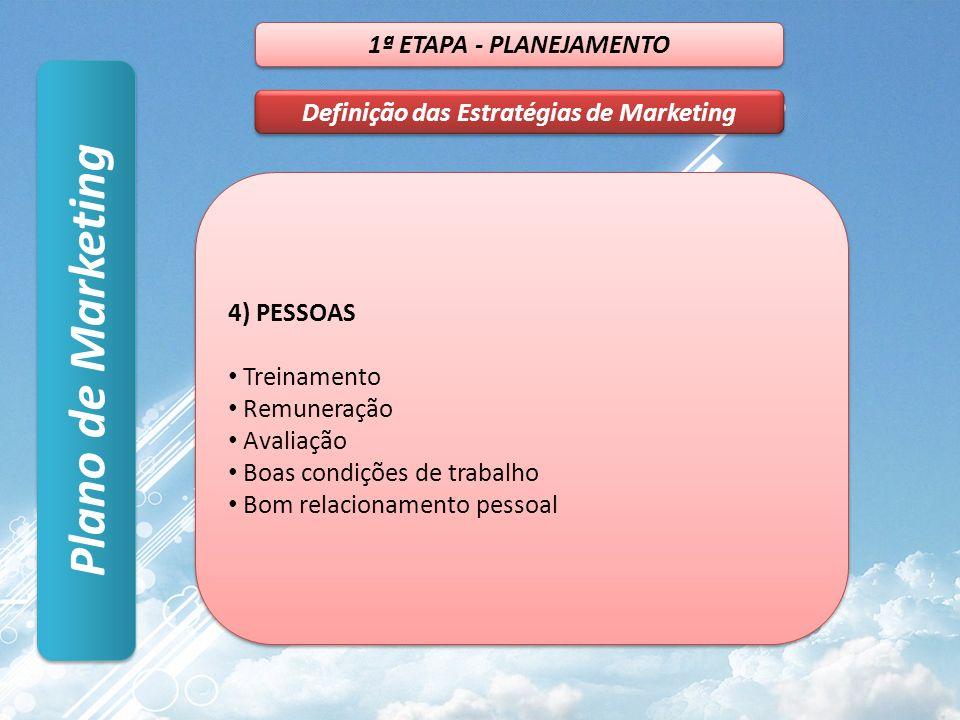Plano de Marketing 1ª ETAPA - PLANEJAMENTO Definição das Estratégias de Marketing 4) PESSOAS Treinamento Remuneração Avaliação Boas condições de trabalho Bom relacionamento pessoal 4) PESSOAS Treinamento Remuneração Avaliação Boas condições de trabalho Bom relacionamento pessoal