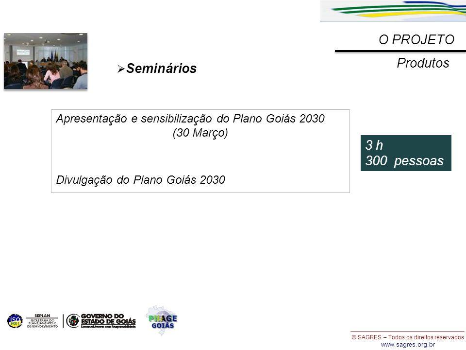 © SAGRES – Todos os direitos reservados www.sagres.org.br O PROJETO Produtos Seminários 3 h 300 pessoas Apresentação e sensibilização do Plano Goiás 2