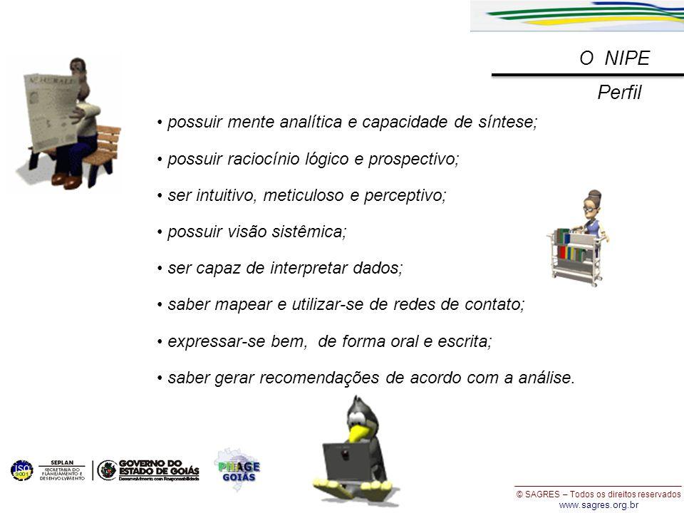 © SAGRES – Todos os direitos reservados www.sagres.org.br O NIPE Perfil possuir mente analítica e capacidade de síntese; possuir raciocínio lógico e p