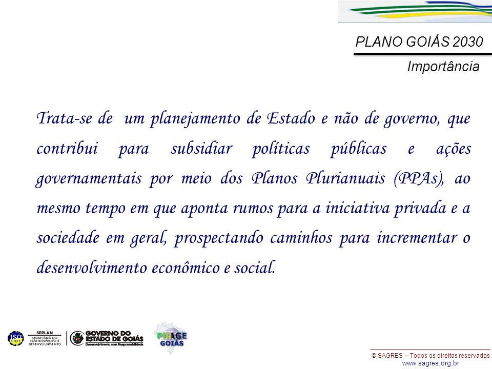 © SAGRES – Todos os direitos reservados www.sagres.org.br PLANO GOIÁS 2030 Trata-se de um planejamento de Estado e não de governo, que contribui para