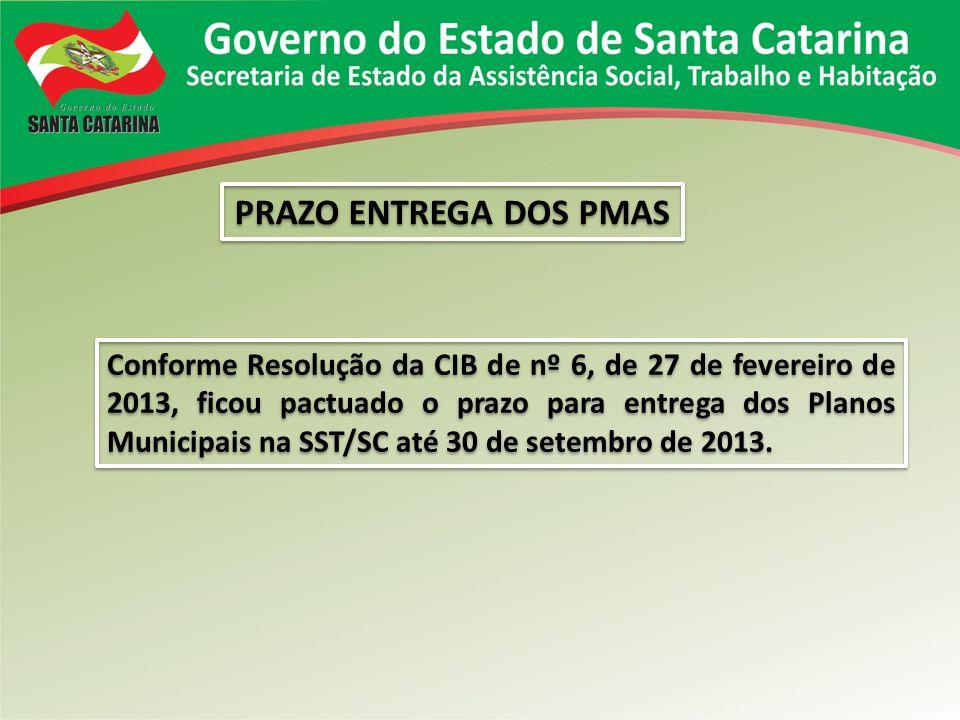 PRAZO ENTREGA DOS PMAS Conforme Resolução da CIB de nº 6, de 27 de fevereiro de 2013, ficou pactuado o prazo para entrega dos Planos Municipais na SST