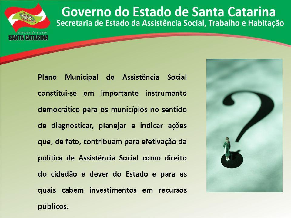 Plano Municipal de Assistência Social constitui-se em importante instrumento democrático para os municípios no sentido de diagnosticar, planejar e ind