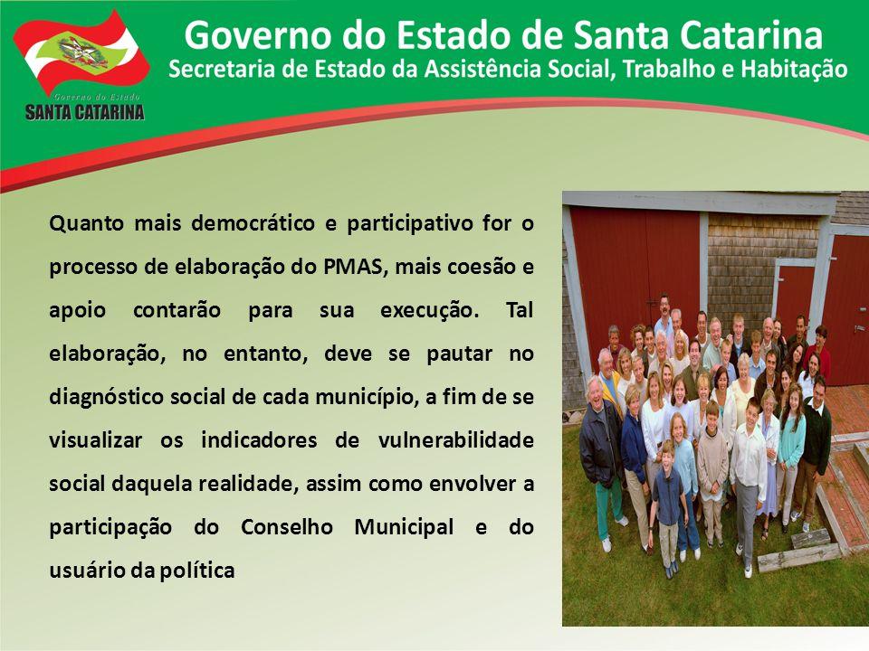 Quanto mais democrático e participativo for o processo de elaboração do PMAS, mais coesão e apoio contarão para sua execução. Tal elaboração, no entan