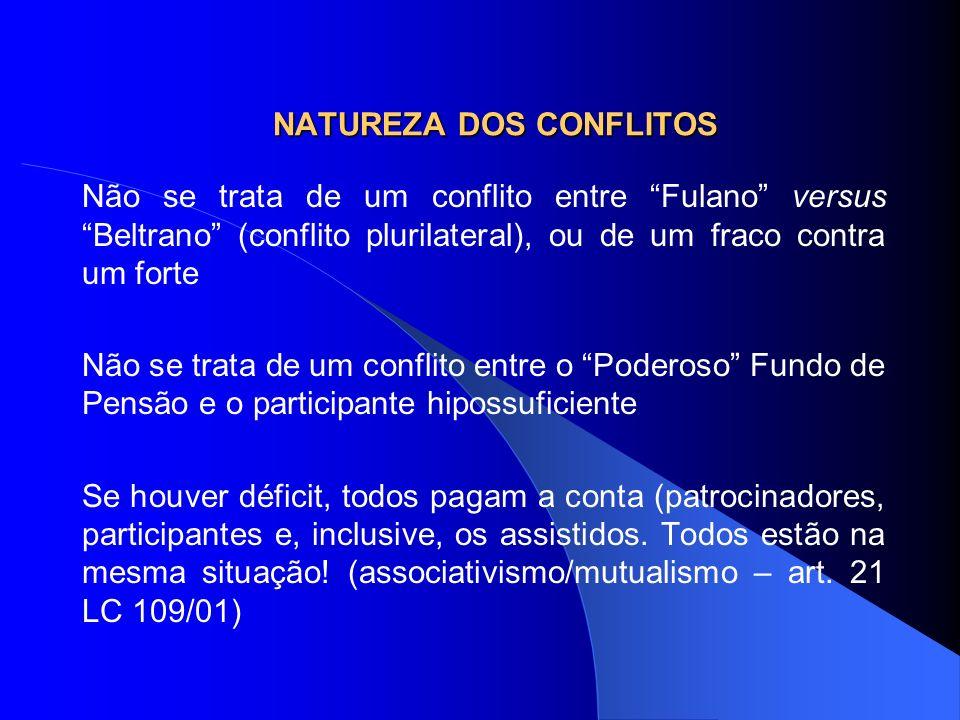 NATUREZA DOS CONFLITOS Não se trata de um conflito entre Fulano versus Beltrano (conflito plurilateral), ou de um fraco contra um forte Não se trata d